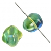 Glass Fancy Bead 10x13mm Blue/Green/Yellow - Strung
